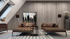 Leder-Lounge Liege mit metallgestell-beistelltisch-Armlehnen und Kissen