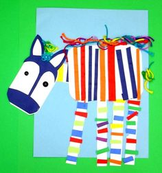 This is super cute!  Collage rainbow zebra...