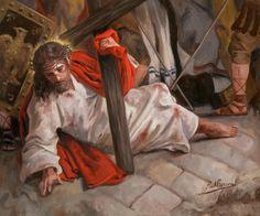 ::RAÚL BERZOSA pinta Segunda Caída de Cristo (Septima estación del Vía Crucis). Málaga.