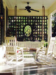 Beautiful Yet Functional Porch Patio Privacy Screen 23 Porch Privacy Screen, Privacy Walls, Privacy Screens, Side Porch, Porch Swing, Porch Trellis, Porch Lattice, Garden Trellis, Front Door With Screen