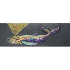 """GreenBox Art 'Jeweled Whale Spray' by Eli Halpin Print of Painting on Canvas in Blue Fog Size: 12"""" H x 36"""" W x 1.5"""" D"""