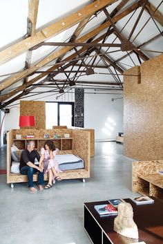 I'm thinking about building some new #furniture. This OSD concept is a stunning inspiration, although I usually dislike OSD: ochre barn bedroom customized OSB furniture