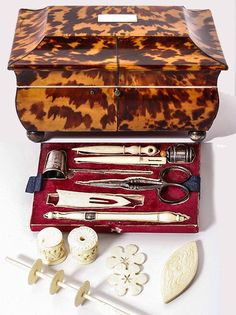 Antique Faux Tortoise Shell Sarcophagus, Sewing Box, Chest, with Tools, Scissors, Silver Thimble, etc.