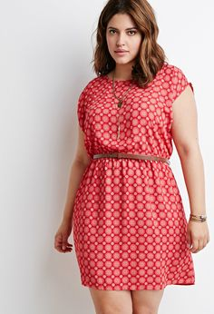 Plus Size Belted Mandala Print Dress