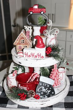 Living on Cloud Nine Valentine Decorations, Christmas Decorations, Holiday Decor, Galvanized Tiered Tray, Christmas Time, Christmas Crafts, White Tray, Wood Bead Garland, Tiered Stand