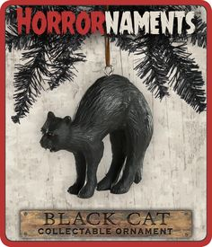 """Look out! Too late, this black cat has already crossed your path, bringing misfortune to all that come across him. The perfect accompaniment to a witch's tree, this fierce feline 2-3/4 W x 2-1/4"""" T x"""