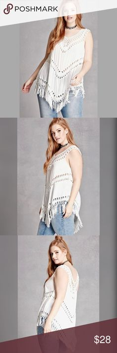Crochet Fringed Top COC for FOREVER 21 PLUS / Crochet Fringed Top US Plus Size 3X **Junior plus sizing** - Semi-sheer woven top with crochet yoke and inserts - Sleeveless with Fringe trim - Tunic length - 40% Acrylic, 40% Cotton, 20% Polyester (very little stretch) ✅ NWT. Brand new, tags attached- never worn. ✅ NO trades / NO low-balling ✅ List price is fair and highly discounted✌️ Forever 21 Tops