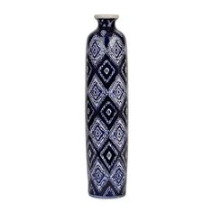 Blue and White Batik Tall Vase | Kirklands