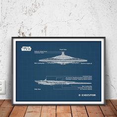 EXECUTOR poster star wars print battle ship by PrintPoint on Etsy