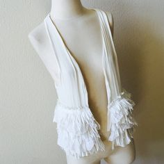 """Zara fringe trim vest White base open vest with trim. 17.5"""" flat bust ,23"""" length. Can fit a small- large. In excellent condition . No trades. Zara Tops"""