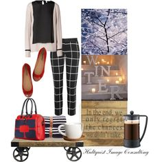 """Holiday season"" by hultquist on Polyvore - The holiday season is upon us and what are you going to wear? Well I am all about breaking the rules so I paired a Navy and white top with black and white pattern skinny pants which are cool tones with warm toned gold studded flats and a red and Navy satchel. Yes you can wear Navy and black together as well as warm and cool tones."