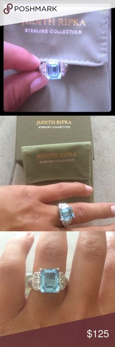 Judith Ripka Ring Judith Ripka Blue Topaz with Cz sides. BRAND NEW! With box…