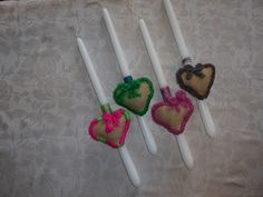 Handmade Easter Candles for Girls and Boys. Mobile Heart made by cloth. Cost 12€/piece.