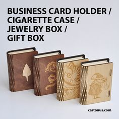 Business card holder, cigarette case, jewelry box, gift box, wooden box with locking  mechanism - sliding bolt latch. Lasercut vector model. Ready for laser cut.