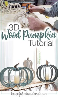 Make these gorgeous wood pumpkins and gourds from inexpensive plywood. The large wooden pumpkins are the perfect fall lantern decor. Fall Lanterns, Lanterns Decor, Diy Wood Projects, Woodworking Projects, Vinyl Projects, 3d Cnc, Wooden Pumpkins, 3d Laser, Wood Working For Beginners