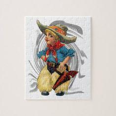 Cowboy Kid Jigsaw Puzzle - kids kid child gift idea diy personalize design