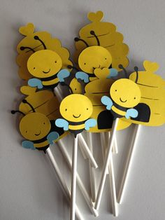 Set Of 12 Bumble Bee Cupcake Toppers, Bees, Bee Hive, Cupcake Decor, First Birthday,Bug Baby Shower,Bug Birthday,Bumble Bee,Bugs