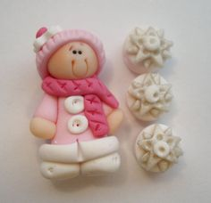 *POLYMER CLAY ~ Mini Set wt Spacer -Winter Girl- Polymer Clay Charm Bead Scrapbooking Embelishment Bow Center Pendant Cupcake Topper