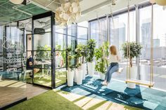 Allegro Group office, designed by Workplace Solutions, Warsaw, Poland Corporate Office Design, Workplace Design, Office Interior Design, Office Interiors, Corporate Offices, Startup Office, Tienda Pop-up, Relax, Office Plants