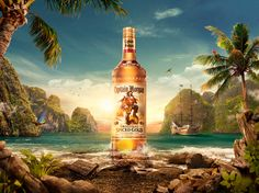 Captain Morgan on Behance Creative Advertising, Advertising Design, Ad Design, Graphic Design, Beer Poster, 3d Photo, Poster Layout, Photoshop, Matte Painting