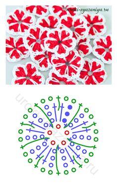 Easy crochet flowers - free chart