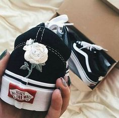Black Vans with flowers- sneakers shoes tennis shoes