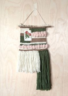 Woven Wall Hanging  Roses by JulesMadeShop on Etsy