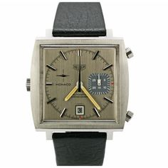Vintage 1970s modernist Heuer Monaco Chronograph ... Pre Tag ! with a  grey suit