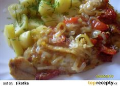 Rybí filé po cikánsku recept - TopRecepty.cz Pos, Cabbage, Cooking Recipes, Meat, Chicken, Vegetables, Fitness, Cooking, Gymnastics
