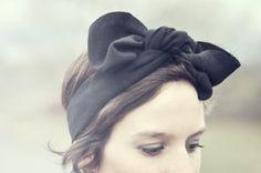 short hair in a wrap/bow/turban-ish thing
