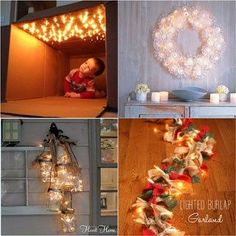 18 Magical String Lights Decorating IdeasString lights are not just for Christmas! These 18 magical string lights decorating ideas will inspire us to use them any time of the year to bring mo. Christmas Planters, Diy Christmas Tree, Christmas Wreaths, Winter Christmas, Snowflake Decorations, Outdoor Christmas Decorations, 3d Paper Snowflakes, Pine Cone Crafts, Theme Noel