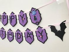 Vampirina birthday party This order is for the Disneys VAMPIRINA HAPPY BIRTHDAY banner, made with high quality card stock. Each pennant is 5x3. The ribbon on the end will be plenty long so you have enough to hang anywhere you please. ---- At the time of check out, please leave on Notes to Seller the following