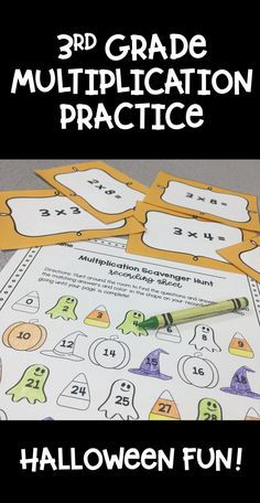 A fun, Halloween themed 3rd grade multiplication activity!  Practice multiplication facts by hunting for them around the room scavenger hunt style, finding the product, and coloring the correct answer on the recording sheet.