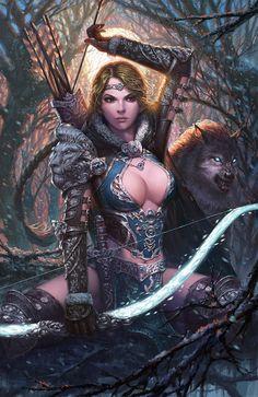 Image from fantasy and syfy. Fantasy Girl, Fantasy Female Warrior, Warrior Girl, Fantasy Women, Dark Fantasy Art, Fantasy Artwork, Female Art, Warrior Women, High Fantasy