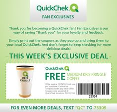 Free Medium Kris Kringle Coffee at Quick Chek, expires 12/29