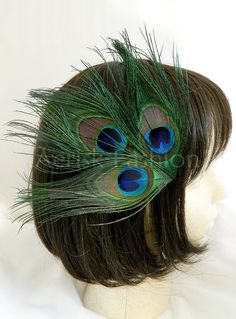Peacock feather Accessory - KARI design - Customize your color and fastener CHOOSE headband, comb, Boutonniere, or hair clip