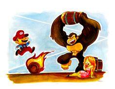 Donkey Kong by WarBrown All Video Games, Video Game Art, Super Mario World, Super Mario Bros, League Of Legends, Nerd Geek, Geek Art, Mario Fan Art, King Koopa