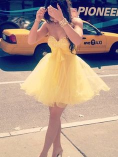 Adorable Daffodil Rhinestones Ball Gown Sweetheart Neckline Short Mini Homecoming Dress, Short Prom Dress