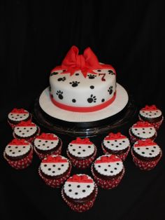 Dalmatian Spotty Cake with Matching Cupcakes - (Jan 2014) Made everything from Fondant /Gumpaste. Simple but effective!! Hope you like it!! xMCx
