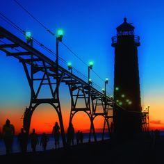 Grand Haven Light - catwalk and Lighthouse at Grand Haven,Michigan