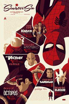 Tom Whalen Spider-Man - Sinister Six Marvel Comics Poster Art Marvel Movie Posters, Marvel Movies, Graphic Design Posters, Graphic Design Inspiration, Parcs Paris, Spiderman Kunst, Spiderman Poster, The Sinister Six, Tom Whalen