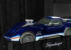 'Corvette+C3+Supercharged+in+black+&+blue+(Originalfarbe)'+von+Arthur+Huber+bei+artflakes.com+als+Poster+oder+Kunstdruck+$20.79