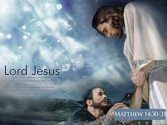 Jesus Picture Saving Peter From Drowning With Scripture Matthew 14-30-31 HD Wallpaper
