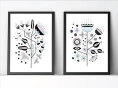 Set of 2 modern botanic wallart, minimalist poster, graphic art, Wall decor, Decoration, scandinavian design, by Eveandelliot on Etsy