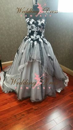 Stunning Gray Wedding Dress with Black and by WeddingDressFantasy