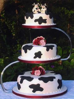 So CUTE! Cow themed wedding cake with cow cake topper