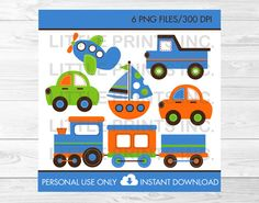 Transportation Vehicles Car Truck Sailboat by LittlePrintsParties