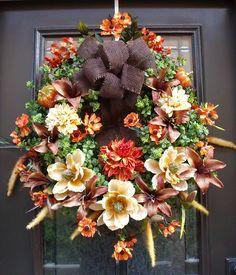 valentine door decor with mesh   ... Wreath, Harvest Decor, Fall Decorations, Autumn Decor, Door Wreaths