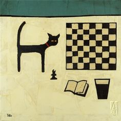'Cat and Chessboard' print by Colin Ruffell available in USA