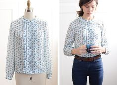 1965 Blue Floral Blouse by marie | Project | Sewing / Shirts, Tanks, & Tops | Kollabora #diy #sewing #kollabora #kollabora.com #blouse #vintage #fabric